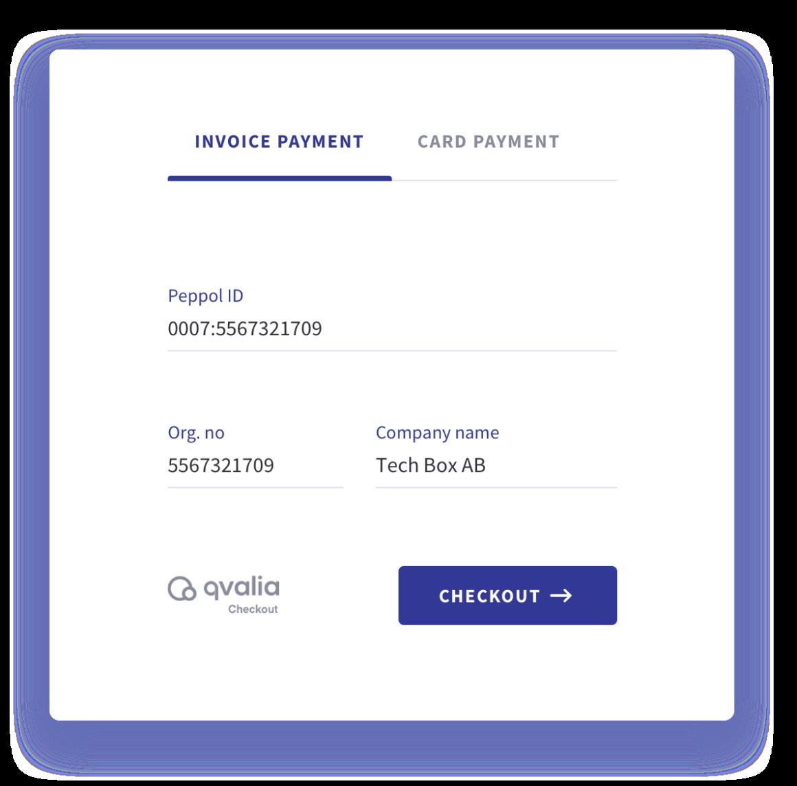 b2b-betallösning med checkout widget för e-handel